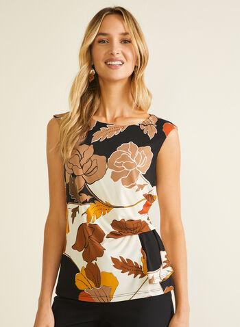 Floral Print Cap Sleeve Top, Black,  top, cap sleeves, floral, jersey, spring summer 2020