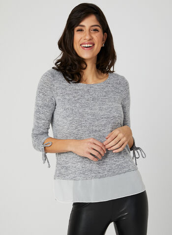 ¾ Sleeve Fooler Top, Silver, hi-res