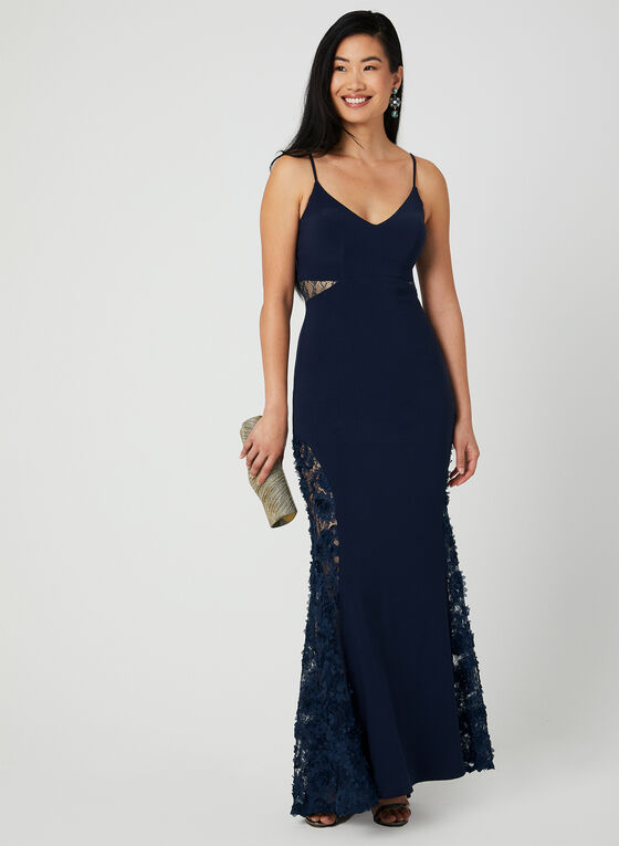 Lace Embellished Mermaid Dress, Blue, hi-res