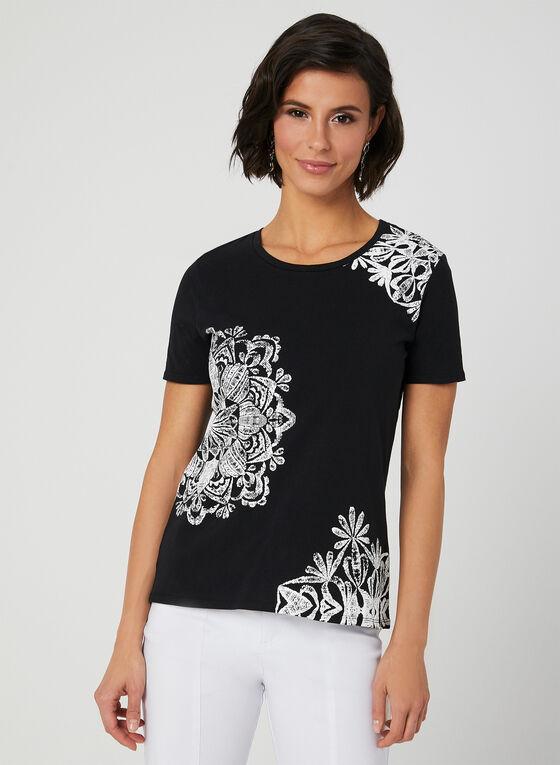 T-shirt à appliqués texturés, Noir