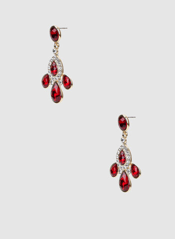 Rhinestone Embellished Teardrop Dangle Earrings, Red,  canada, earring, dangle earrings, teardrop earrings, rhinestone, holiday, fall 2019, winter 2019