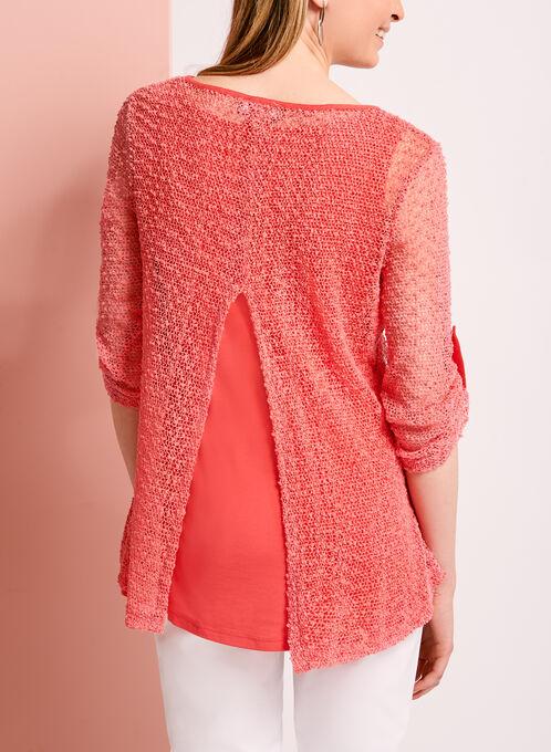 Haut manches 3/4 doublé en maille tricot, Orange, hi-res