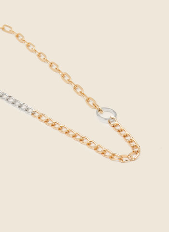 Two Tone Chain Necklace, Yellow,  accessories, accessory, two tone, two-tone, multi chain, ring detail, jewelry, jewellery, necklace, chain link, evening, spring 2021