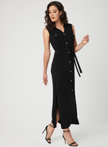 Nina Leonard - Sleeveless Button Down Dress, Black, hi-res