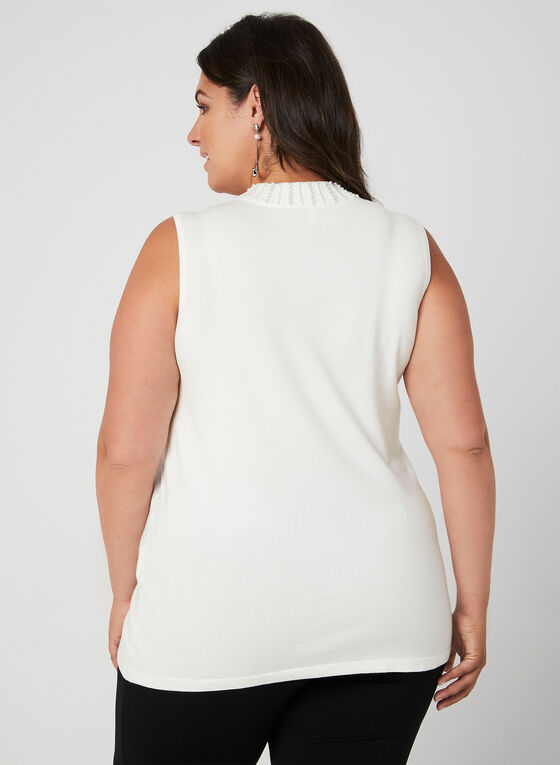Sleeveless Mock Neck Top, Off White, hi-res