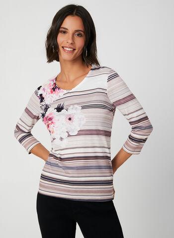 Floral Print ¾ Sleeve T-Shirt, White, hi-res,  t-shirt, 3/4 sleeves, V-neck, floral print, fall 2019, winter 2019