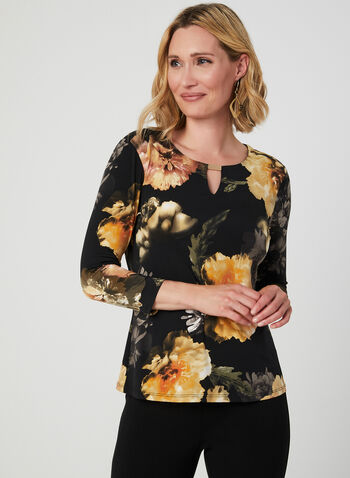Floral Print ¾ Sleeve Top, Black, hi-res,  jersey, metallic, scoop neck, keyhole cutout, fall 2019, winter 2019