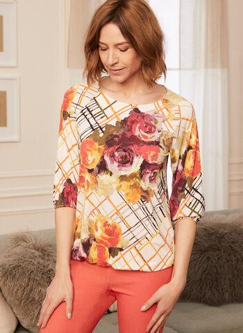 Haut floral à manches aux coudes , Orange,  fait au canada, haut, blouse, fleurs, floral, imprimé, manches aux coudes, encolure bateau, printemps été 2021