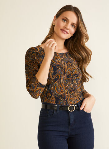 Paisley Print 3/4 Sleeve Top, Blue,  top, paisley, boat neck, 3/4 sleeves, fall winter 2020