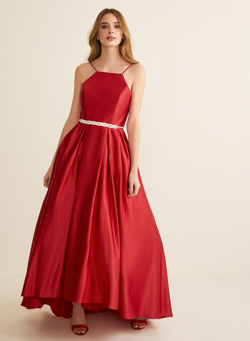 Open Back Satin Ball Gown, Red,  prom dress, ball gown, sleeveless, spaghetti straps, satin, apron neck, tulle, crinoline, high low, spring summer 2020