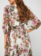 Floral Print Chiffon Dress, Brown