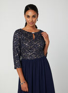 Sequin Bodice Dress, Blue