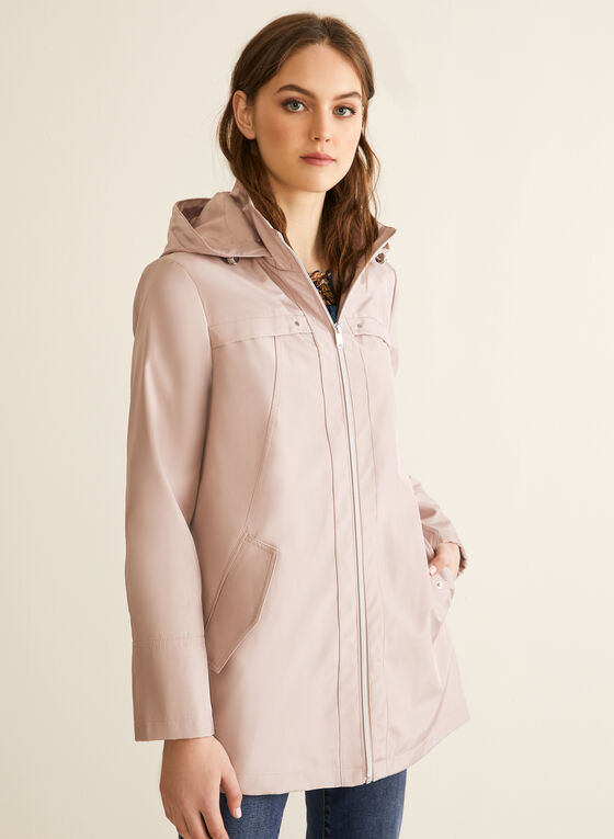 Manteau imperméable à capuchon, Rose