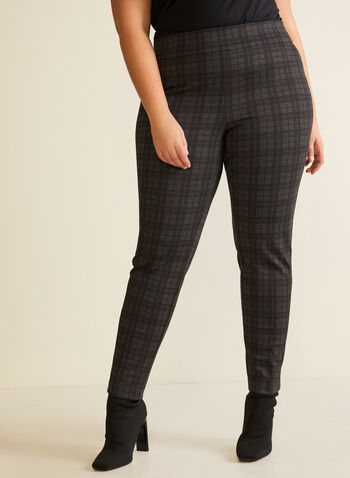 Tartan Print Pull-On Pants, Grey,  pants, pull-on, tartan, slim leg, ponte di roma, fall winter 2020