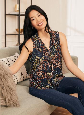 Haut sans manches à motif floral, Multi,  top, haut, blouse, motif floral, imprimé floral, encolure en V, col en V, bouton, volants, printemps été 2021