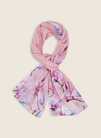 Light Floral Print Scarf , Pink,  scarf, light, floral print, chiffon, Spring 2020