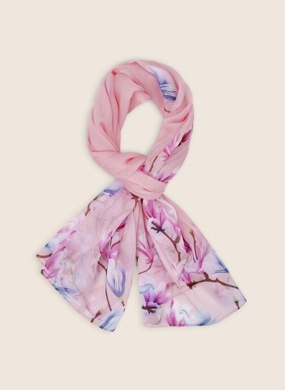 Foulard léger fleuri, Rose