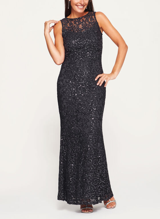 Marina - Sleeveless Sequin Lace Dress, Grey, hi-res