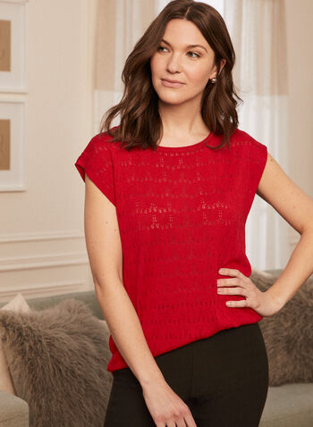 Fine Open Knit Top, Red,  top, open knit, fine, linen, short sleeves, scoop neck, spring summer 2020
