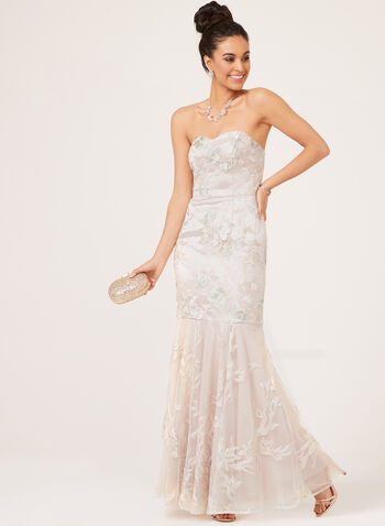 Floral Embroidered Mermaid Gown , Off White, hi-res