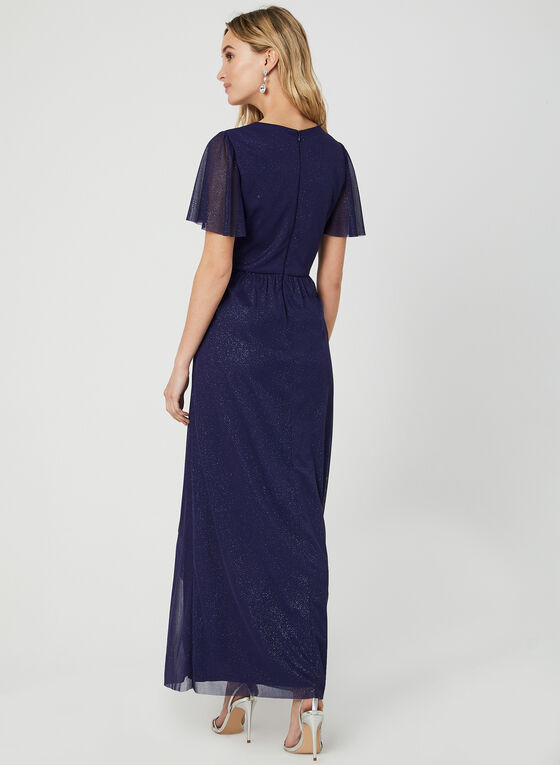 Robe pailletée à effet drapé, Bleu, hi-res