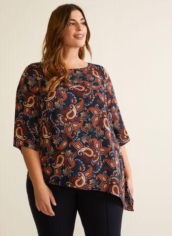 Asymmetrical Paisley Print Blouse, Blue,  Fall winter 2020, blouse, paisley print, bell sleeves, asymmetrical, crepe fabric