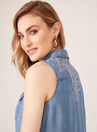 Sleeveless Denim Shirt Dress, Blue, hi-res