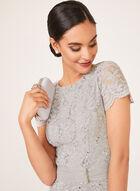 Sequin Lace Peplum Dress, Silver, hi-res