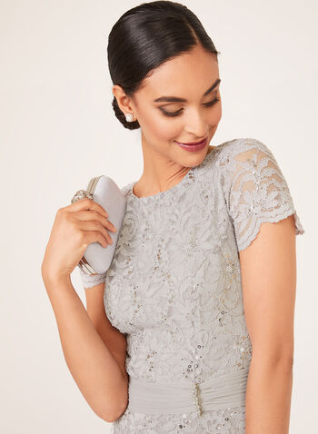 Sequin Lace Peplum Dress, Silver, hi-res