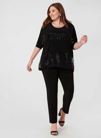 Joseph Ribkoff - Sequin Top, Black,  Joseph Ribkoff, top, sequin, crochet, 3/4 sleeves, fall 2019, winter 2019