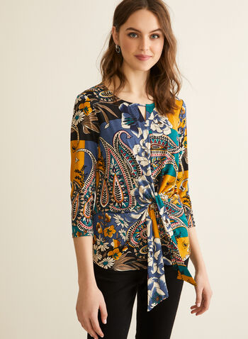 Floral & Paisley Print Top, Blue,  top, paisley, floral, colour blocking, jersey, 3/4 sleeves, scoop neck, slit, tie detail, drape, spring summer 2020
