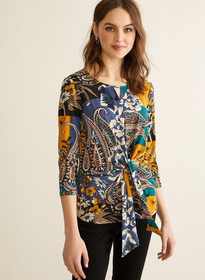 Floral & Paisley Print Top