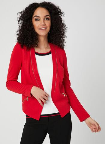 Vex - Blazer ouvert à détails zippés, Rouge, hi-res