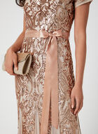 Sequin & Mesh Dress, Off White, hi-res