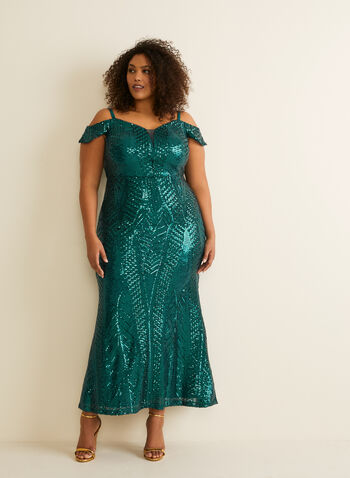 Off-the-Shoulder Mermaid Dress, Green,  prom dress, mermaid, sweetheart neck, off-the-shoulder, mesh, sequins, spring summer 2020
