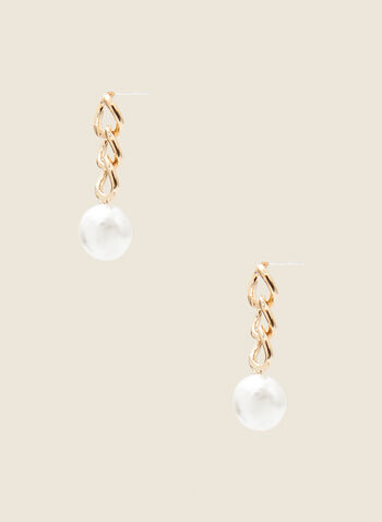 Link & Pearl Earrings, Off White,  jewellery, accessories, earrings, pearl, chain, link, metallic, spring summer 2021