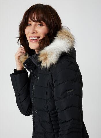 Novelti - Manteau mi-long matelassé à capuchon, Noir, hi-res,  manteau, mi-long, matelassé, végane, capuchon, fausse fourrure, boutons-pression, automne hiver 2019