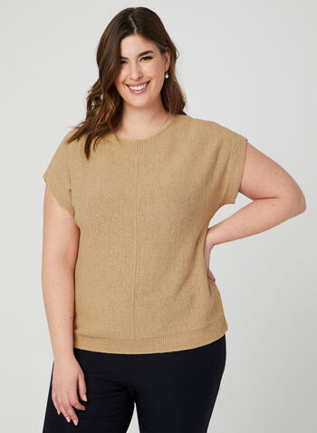 Drop Shoulder Knit Top, Brown, hi-res