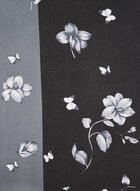 Two-Toned Floral Print Scarf, Grey, hi-res