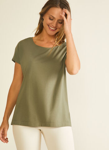 Cotton & Modal T-Shirt, Green,  t-shirt, modal, cotton, short sleeves, scoop neck, spring summer 2020