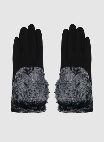 Gloves With Faux Fur Top, Black,  gloves, faux fur gloves, faux fur, winter 2019, fall 2019