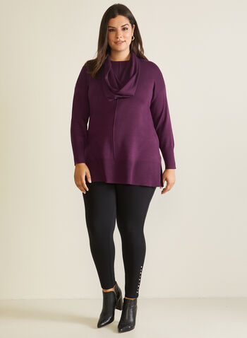 Tunic Sweater With Scarf, Purple,  sweater, scarf, rib knit, tunic, fall winter 2020