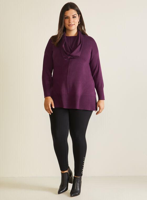 Tunic Sweater With Scarf, Purple
