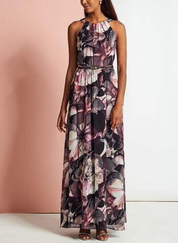Floral Print Cleo Neck Belted Gown, Red, hi-res