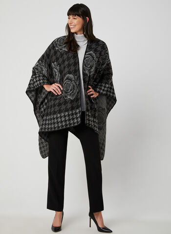 Rose Print Poncho, Grey, hi-res,  poncho, ruana, houndstooth, fall 2019, winter 2019