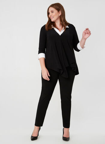 Joseph Ribkoff - Asymmetrical Fooler Top, Black,  Canada, Joseph Ribkoff, top, fooler top, V-neck, tunic, asymmetrical, fall 2019, winter 2019