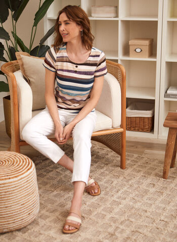 Stripe Print Button Detail Tee, Multi,  t-shirt, button details, striped, short sleeves, spring summer 2021