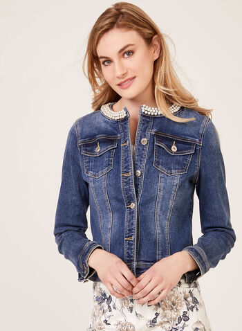 Faux Pearl Neck Denim Jacket, Blue, hi-res