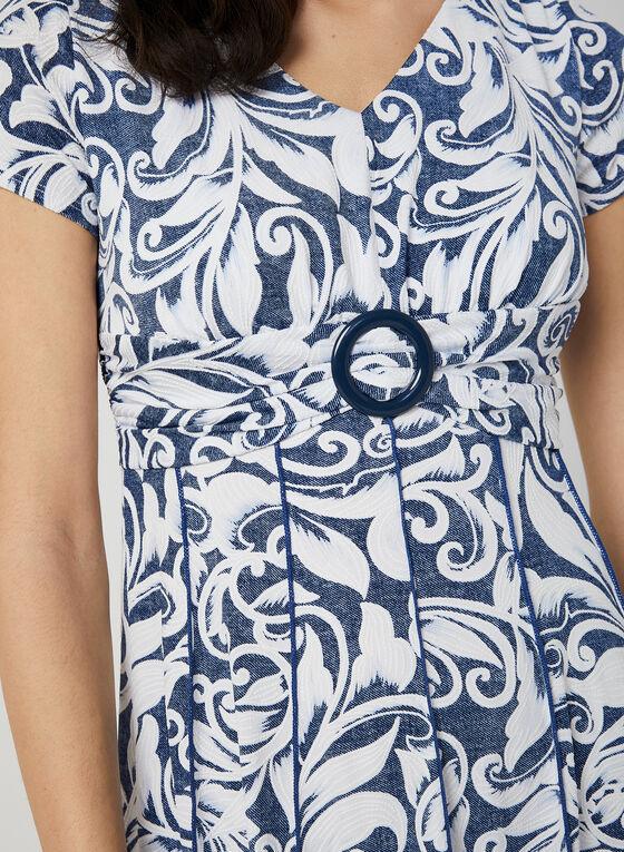 Robe ajustée et évasée à imprimé texturé, Bleu
