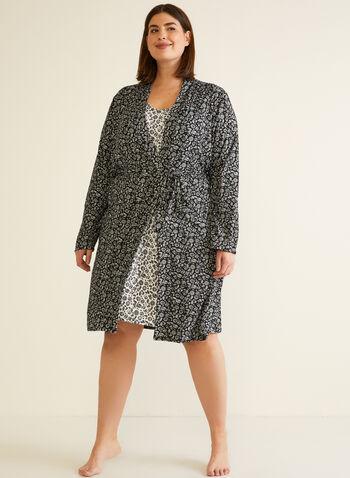 Robe & Nightgown Set, Black,  fall winter 2020, v neck, robe, nightgown, nightshirt, pj, pyjama, sleepwear, cozy, contrast, floral, comfort, stretch